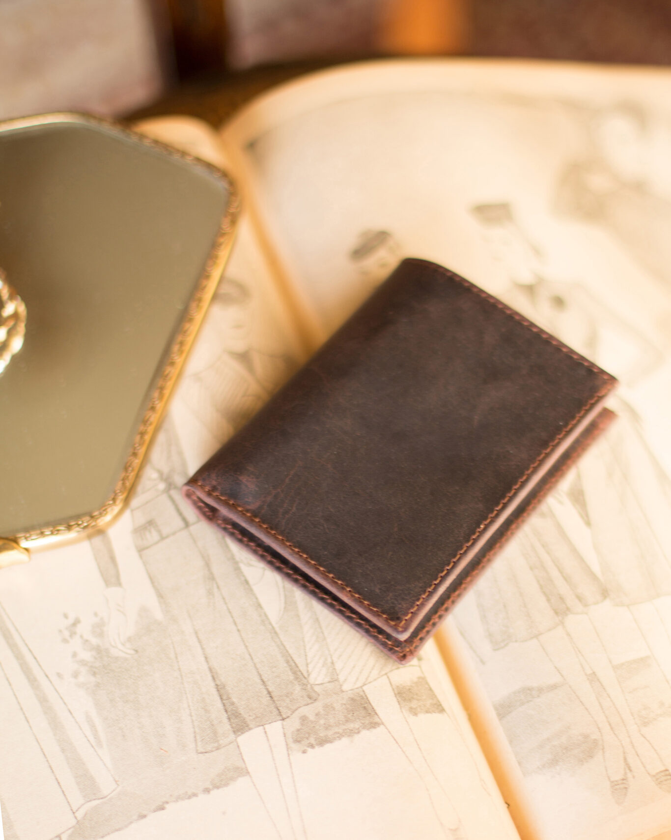 Small Leather Wallet in Rustic Brown