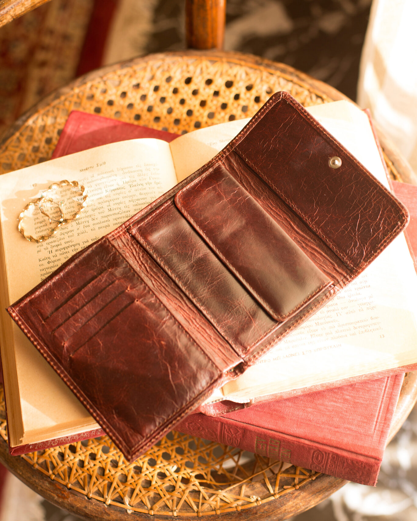 Vintage Leather Wallet in Rustic Brown